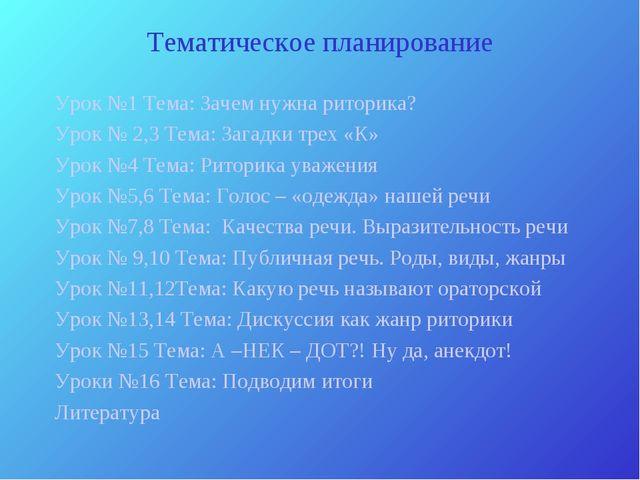 Тематическое планирование Урок №1 Тема: Зачем нужна риторика? Урок № 2,3 Тема...