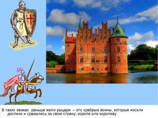 В таких замках раньше жили рыцари – это храбрые воины, которые носили доспехи