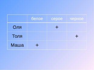 белое серое черное Оля + Толя + Маша + белое серое черное Оля + Толя + Маша +