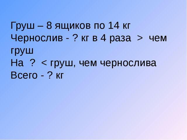 Груш – 8 ящиков по 14 кг Чернослив - ? кг в 4 раза > чем груш На ? < груш, че...