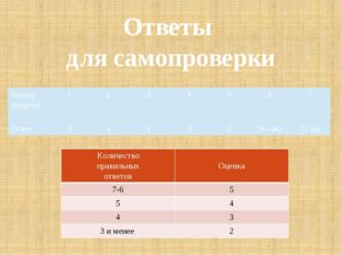 Ответы для самопроверки Номер вопроса 1 2 3 4 5 6 7 Ответ 3 4 1 3 2 36 см2 72
