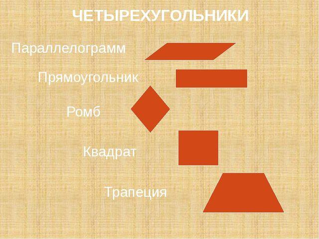 Параллелограмм Прямоугольник Ромб Квадрат ЧЕТЫРЕХУГОЛЬНИКИ Трапеция