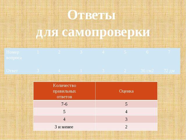 Ответы для самопроверки Номер вопроса 1 2 3 4 5 6 7 Ответ 3 4 1 3 2 36 см2 72...