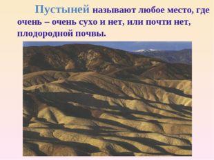 Пустыней называют любое место, где очень – очень сухо и нет, или почти нет,