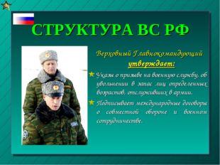 СТРУКТУРА ВС РФ Верховный Главнокомандующий утверждает: Указы о призыве на во
