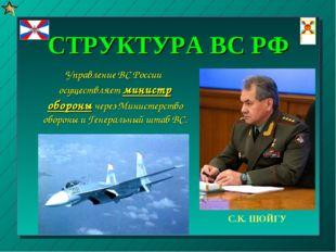 СТРУКТУРА ВС РФ Управление ВС России осуществляет министр обороны через Минис