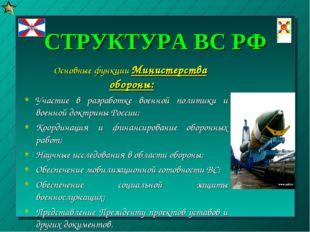 СТРУКТУРА ВС РФ Основные функции Министерства обороны: Участие в разработке в