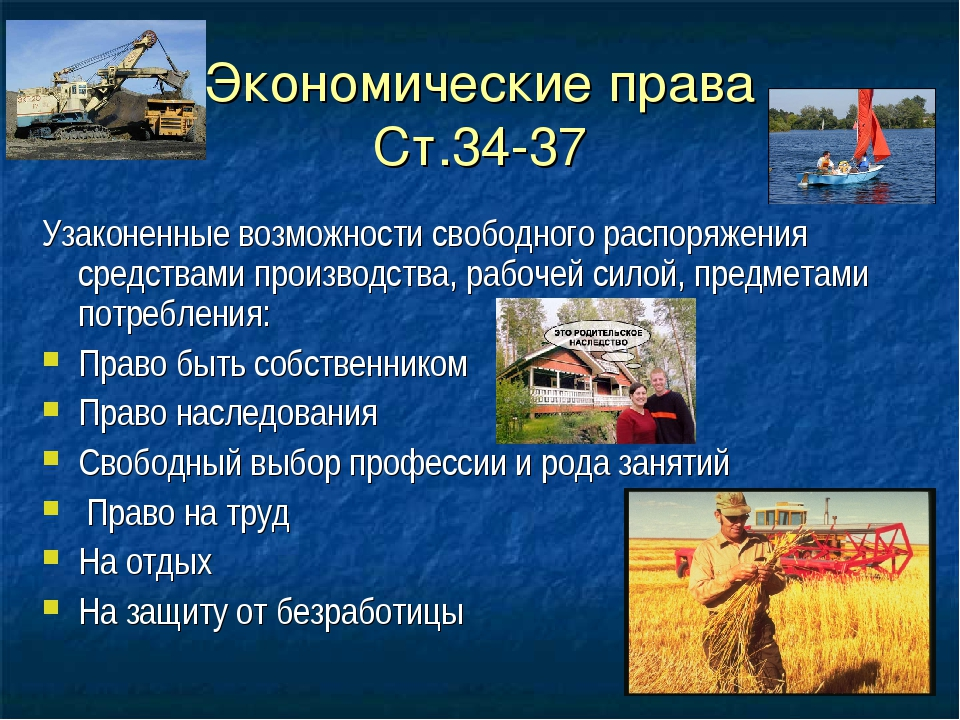 Экономические права Ст.34-37 Узаконенные возможности свободного распоряжения...