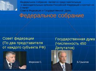 Федеральное собрание Совет федерации (По два представителя от каждого субъект