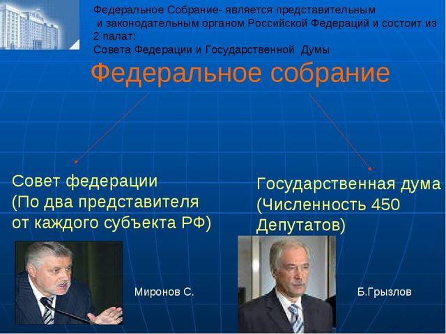 Федеральное собрание Совет федерации (По два представителя от каждого субъект...