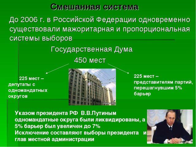 Смешанная система До 2006 г. в Российской Федерации одновременно существовал...