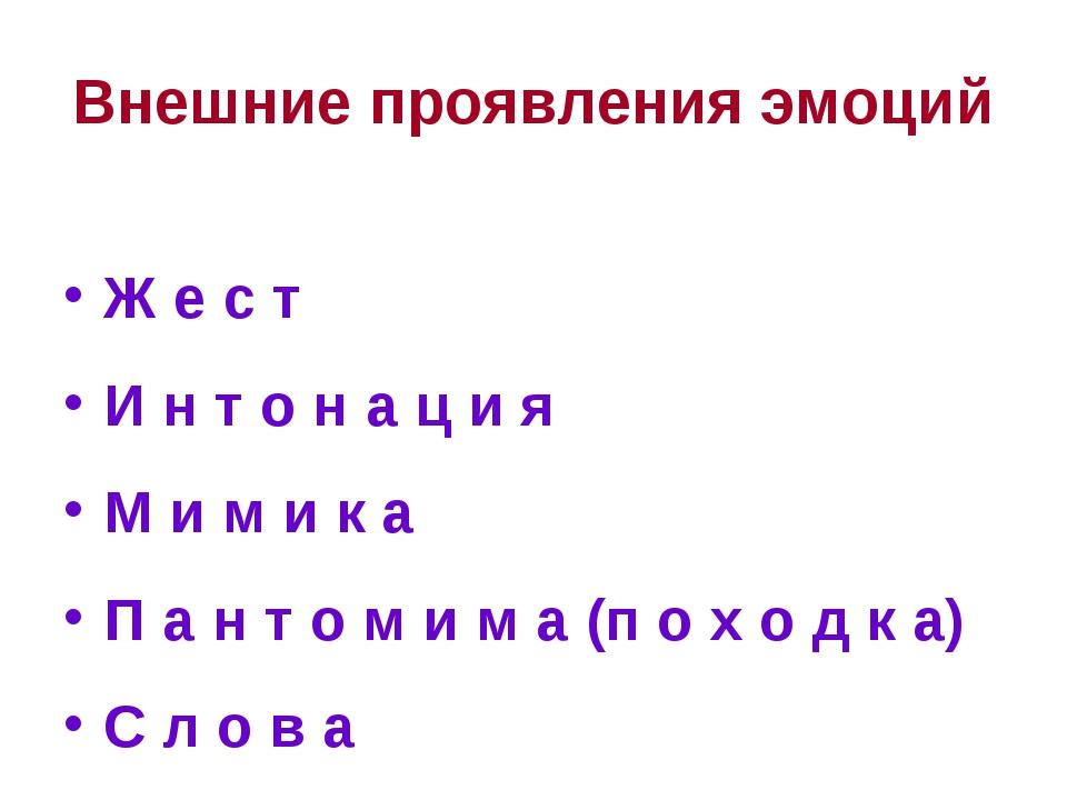 Внешние проявления эмоций Ж е с т И н т о н а ц и я М и м и к а П а н т о м и...