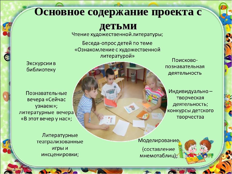 Основное содержание проекта с детьми