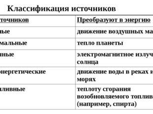 Классификация источников Тип источников Преобразуют в энергию Ветряные движен