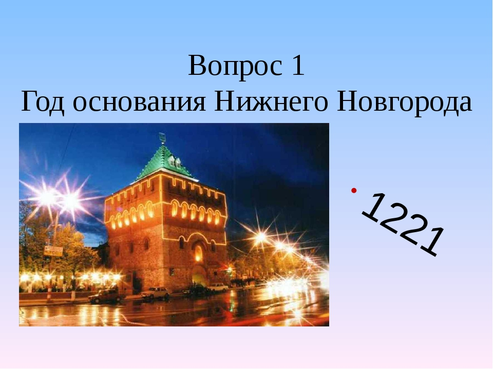 Вопрос 1 Год основания Нижнего Новгорода 1221