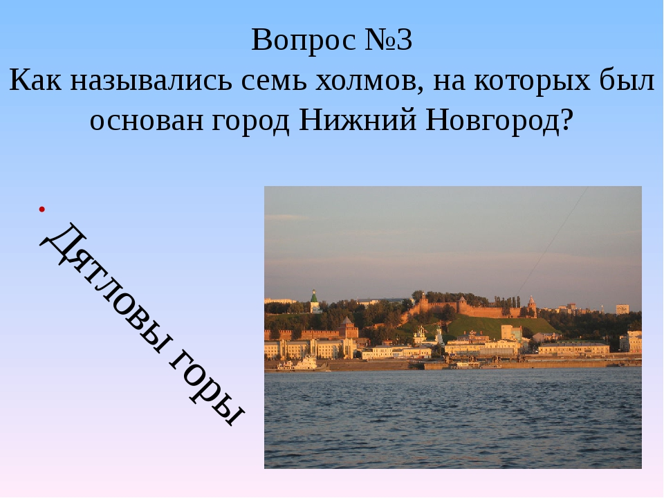 Вопрос №3 Как назывались семь холмов, на которых был основан город Нижний Нов...