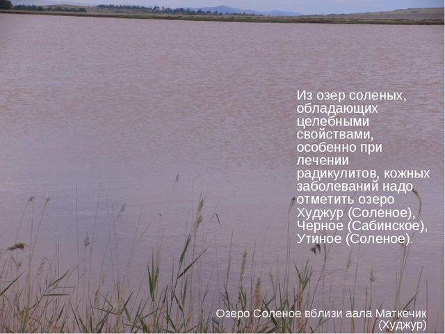 Из озер соленых, обладающих целебными свойствами, особенно при лечении радику...