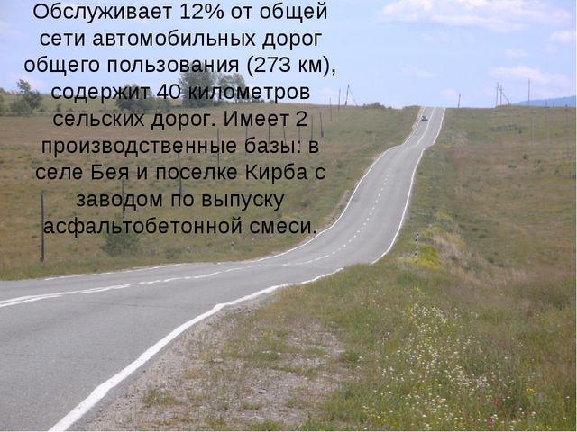Обслуживает 12% от общей сети автомобильных дорог общего пользования (273 км)...