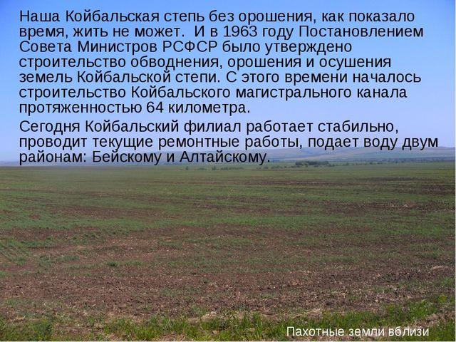 Наша Койбальская степь без орошения, как показало время, жить не может. И в 1...