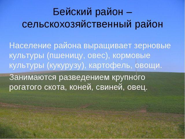 Бейский район – сельскохозяйственный район Население района выращивает зернов...
