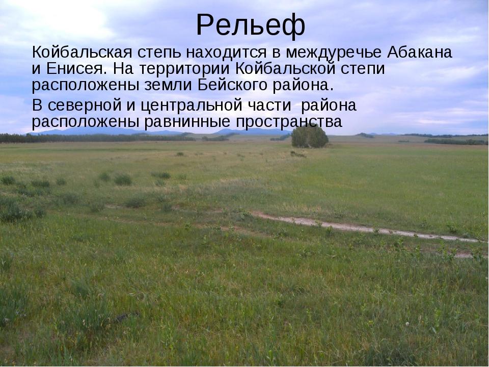 Рельеф Койбальская степь находится в междуречье Абакана и Енисея. На территор...