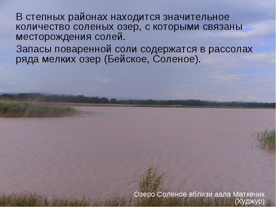 В степных районах находится значительное количество соленых озер, с которыми...