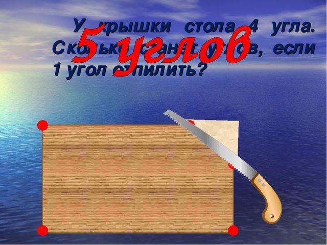 У крышки стола 4 угла. Сколько станет углов, если 1 угол отпилить?