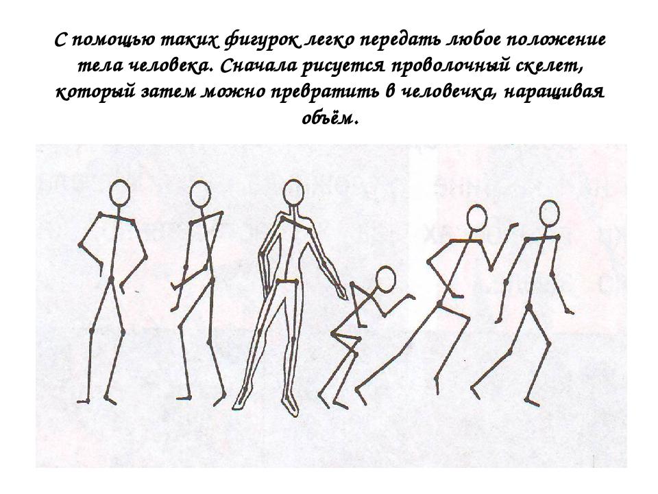 С помощью таких фигурок легко передать любое положение тела человека. Сначала...