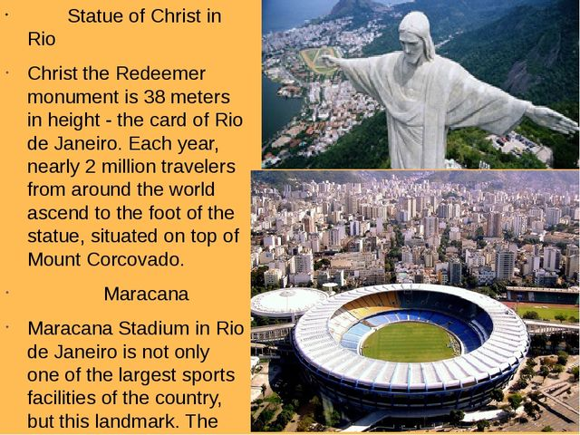 Statue of Christ in Rio Christ the Redeemer monument is 38 meters in height...