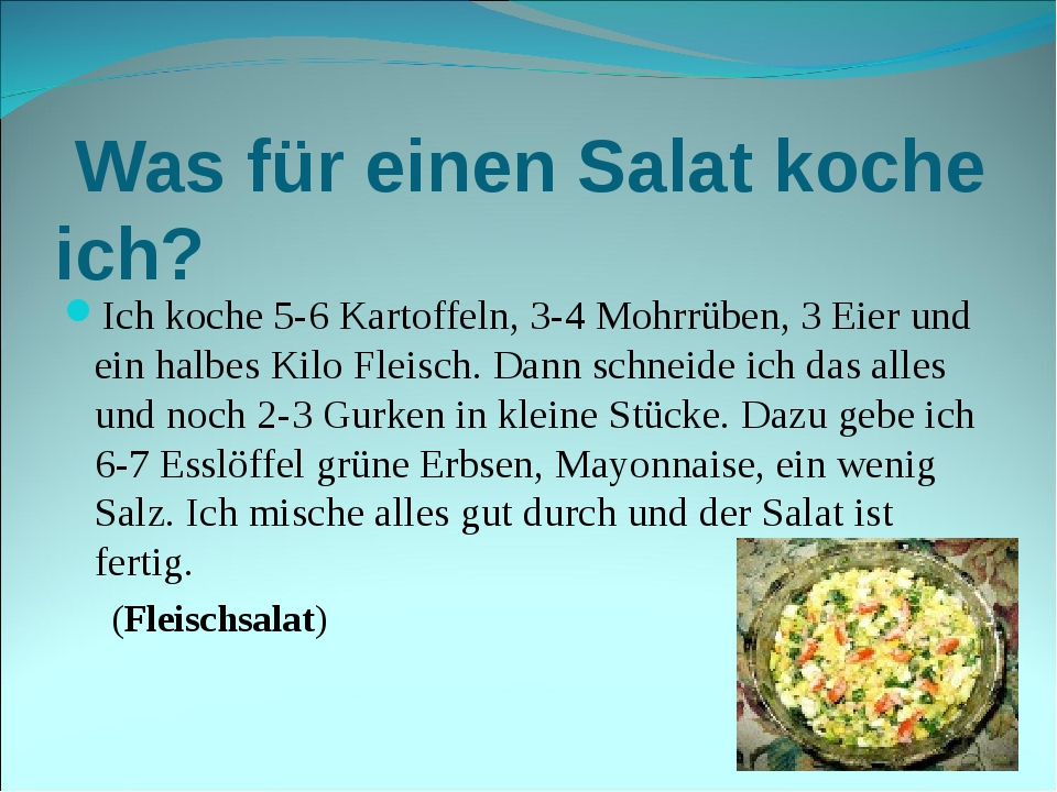 Was für einen Salat koche ich? Ich koche 5-6 Kartoffeln, 3-4 Mohrrüben, 3 Ei...