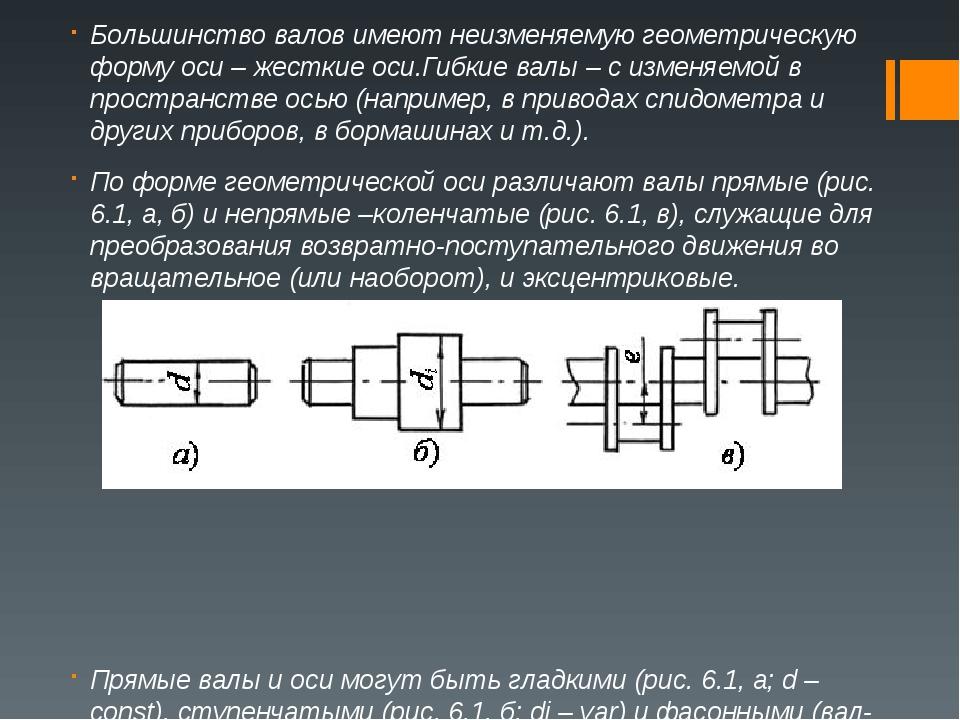 Большинство валов имеют неизменяемую геометрическую форму оси –жесткие оси.Г...