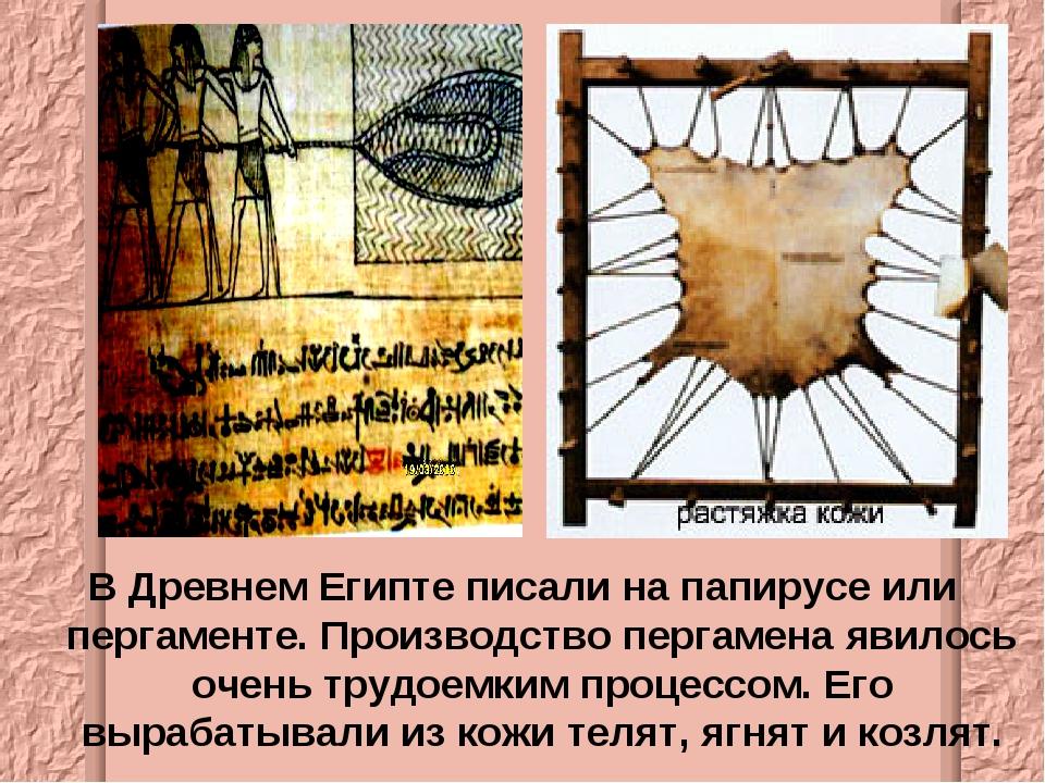 В Древнем Египте писали на папирусе или пергаменте. Производство пергамена яв...