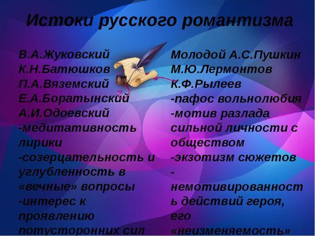 Истоки русского романтизма В.А.Жуковский К.Н.Батюшков П.А.Вяземский Е.А.Бора...