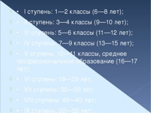 •I ступень: 1—2 классы (6—8 лет); •II ступень: 3—4 классы (9—10 лет); •III