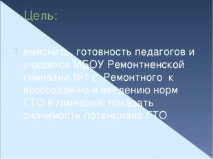 Цель: выяснить, готовность педагогов и учащихся МБОУ Ремонтненской гимназии №