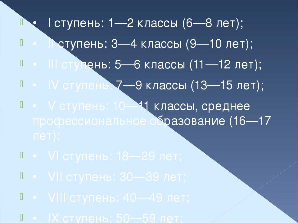 •I ступень: 1—2 классы (6—8 лет); •II ступень: 3—4 классы (9—10 лет); •III...