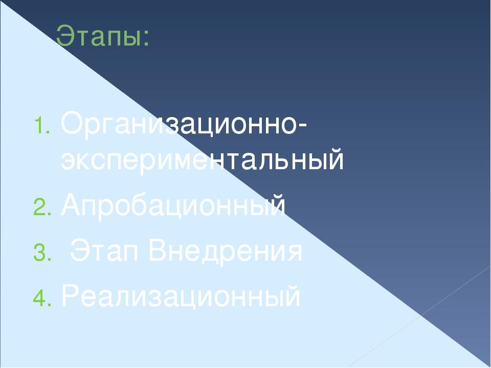 Этапы: Организационно- экспериментальный Апробационный Этап Внедрения Реализа...