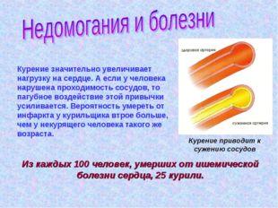 Курение приводит к сужению сосудов Курение значительно увеличивает нагрузку н