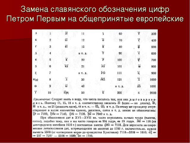 Замена славянского обозначения цифр Петром Первым на общепринятые европейские