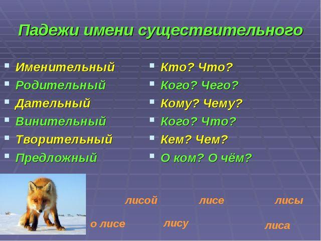 Падежи имени существительного Именительный Родительный Дательный Винительный...