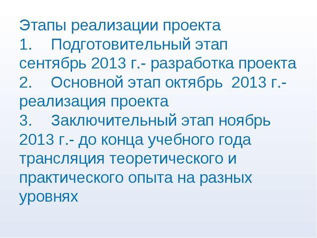 Этапы реализации проекта 1.Подготовительный этап сентябрь 2013 г.- разработк...
