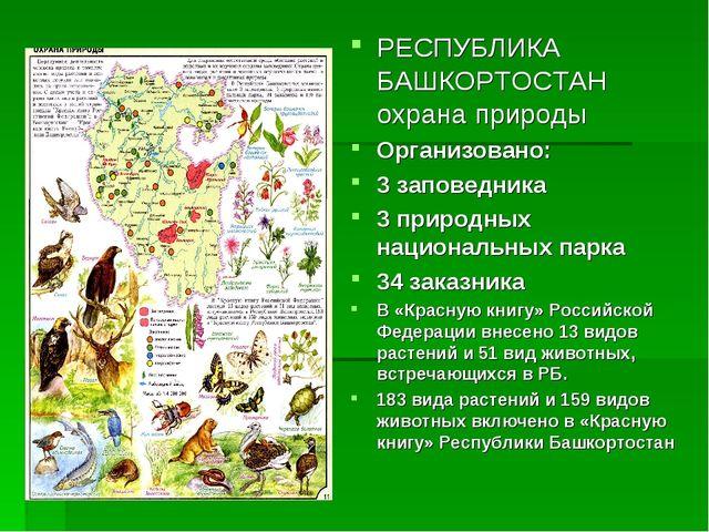 РЕСПУБЛИКА БАШКОРТОСТАН охрана природы Организовано: 3 заповедника 3 природны...