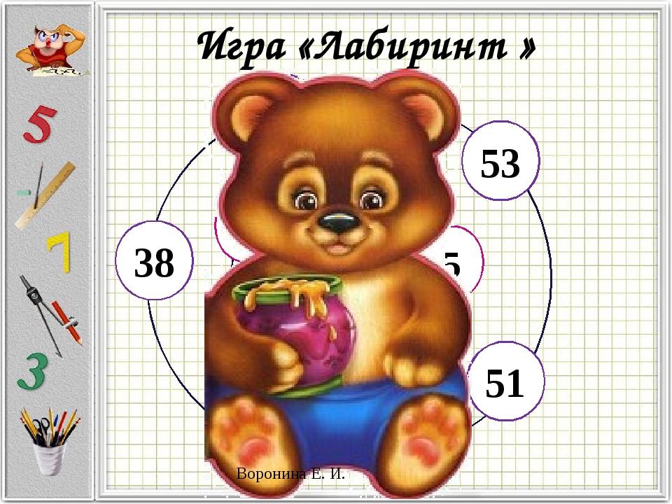 Игра «Лабиринт » 58 52 53 38 48 51 7 20 6 5 10 Воронина Е. И.