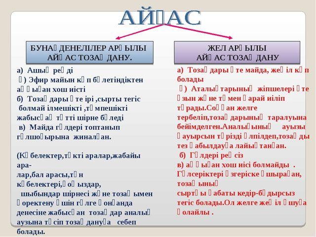а) Ашық реңді ә) Эфир майын көп бөлетіндіктен аңқыған хош иісті б) Тозаңдары...