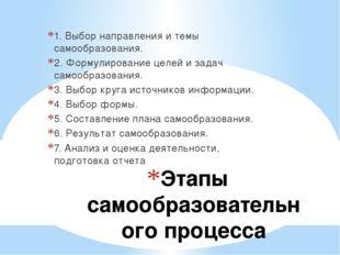 Этапы самообразовательного процесса 1. Выбор направления и темы самообразован