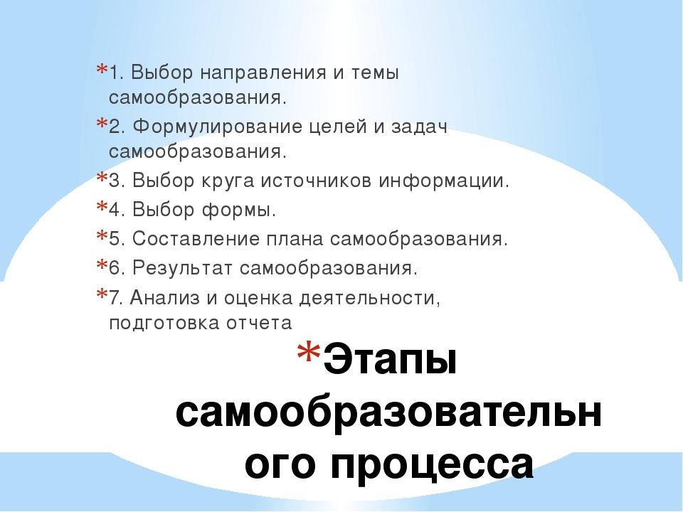 Этапы самообразовательного процесса 1. Выбор направления и темы самообразован...