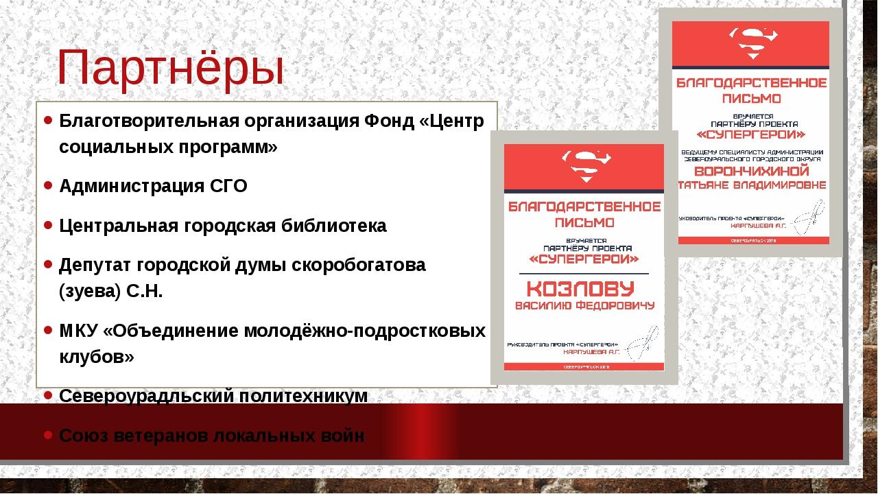 Партнёры проекта Благотворительная организация Фонд «Центр социальных програм...