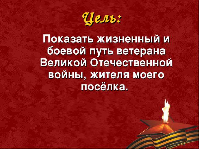 Цель:  Показать жизненный и боевой путь ветерана Великой Отечественной войн...
