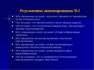 Результаты анкетирования №1 92% опрошенных не знают, насколько повышается тем