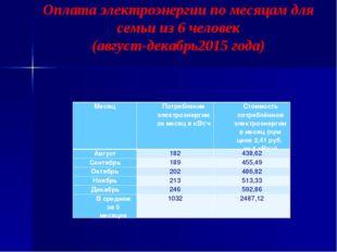 Оплата электроэнергии по месяцам для семьи из 6 человек (август-декабрь2015 г